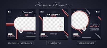 möbler försäljning fyrkantiga mallar för sociala medier reklam set vektor