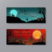 Set von Happy Halloween mit Vollmond für Party vektor