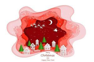 Frohe Weihnachten und ein gutes neues Jahr mit buntem Vorlagengruß vektor