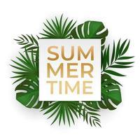 natürliche realistische grüne tropische Palmblätter. Sommerzeit Schriftzug.
