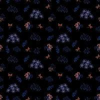 nahtloses Muster der blauen Blumen und der Libellen auf dunklem Hintergrund vektor