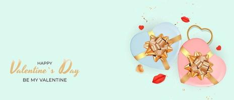 Valentinstag Urlaub Banner auf Pastellfarbe Hintergrund vektor