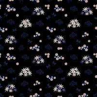 monotone nahtlose Muster weiße und blaue Blumen mit Libelle vektor