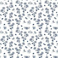 blå nyans blommor på vit trädgård sömlösa mönster vektor