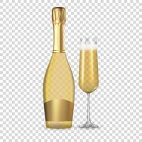 realistische 3d Champagner goldene Flasche und Glasikone lokalisiert auf Hintergrund. vektor