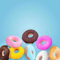 realistischer 3d süßer leckerer Donuthintergrund. kann für Dessertmenü, Poster, Karte verwendet werden.