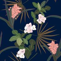 tropische Blumen und Blätter auf dunklem Sommernacht nahtloses Muster vektor