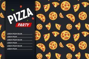 pizza party flygblad affisch bakgrund mall. vektor illustration.