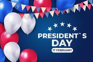 Feiertagshintergrund mit Luftballons für USA-Präsidententagsplakat, Fahne, Werbung, Förderung. vektor