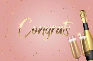 realistischer 3d Glückwunschhintergrund mit Flasche Champagner und einem Glas für Partei, Feiertag, Geburtstag, Werbekarte, Plakat. Vektorillustration