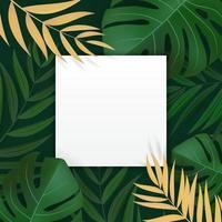 tropischer Hintergrund des natürlichen realistischen grünen Palmblattes mit leerem leeren Rahmen. Vektorillustration