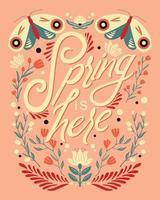 bunter dekorativer handgeschriebener Typografieentwurf mit Tier- und Blumendekoration.