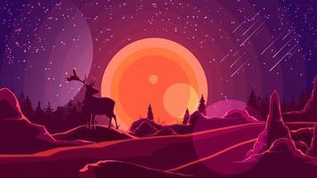 Landschaft mit Sonnenuntergang hinter den Bergen, Wald, Silhouette eines Hirsches und Sternenhimmel auf lila Himmel. Vektorillustration.