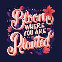 färgglad dekorativ handskriven typografidesign med blommor och dekoration. vår hand bokstäver illustration design. vektor