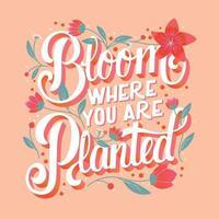 bunter dekorativer handgeschriebener Typografieentwurf mit Blumen und Dekoration. Frühlingshandbeschriftungsillustrationsentwurf. vektor