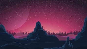 Weltraumlandschaft in lila Tönen, Natur auf einem anderen Planeten. Vektorillustration.