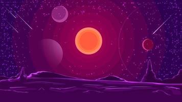 Weltraumlandschaft mit Sonnenuntergang auf lila Himmel, Natur auf einem anderen Planeten. Vektorillustration.