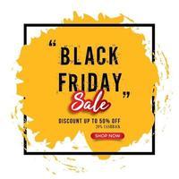 schwarzer Freitag Verkauf gelber Pinselstrich Rahmenhintergrund vektor