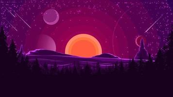 Landschaft mit Sonnenuntergang hinter den Bergen, Wald und Sternenhimmel in lila Tönen. Vektorillustration.