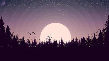 Sonnenuntergang in einem Kiefernwald, Vögel stiegen in den Himmel