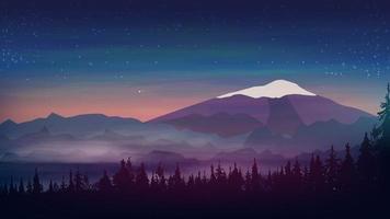 Abendlandschaft, große schneebedeckte Berge, Kiefernwald am Fuße und Sternenhimmel. Vektorillustration