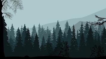 dunkler Kiefernwald, Berge und grauer Himmel, graue Abendlandschaft