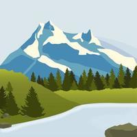 schneebedeckte Berge, grüne Wiesen mit Kiefernwald und einem Fluss. Vektorillustration