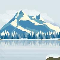 Winterkiefernwald am Ufer des zugefrorenen Sees vor dem Hintergrund der schneebedeckten Berge. Vektor.