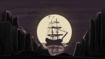 Das Schiff steht im Hafen gegen den Mond, der über den Horizont hinausgeht.