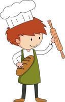 kleiner Bäcker, der Backwaren-Zeichentrickfigur isoliert hält vektor