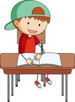 Ein Junge, der Hausaufgaben macht, kritzelt Zeichentrickfigur