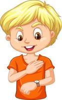 eine junge Zeichentrickfigur, die auf seine Uhr schaut