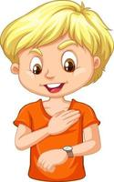 en pojke seriefigur som tittar på hans klocka