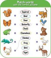 matcha ord med rätt bildspel för barn