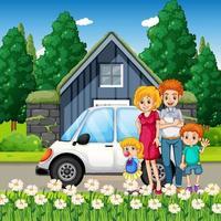 lycklig familj som står utanför hemmet med en bil