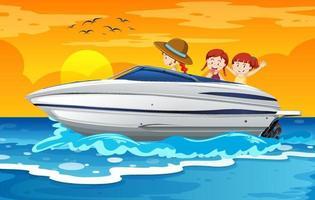 barn som står på en snabbbåt i strandscenen vektor