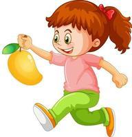 en pojke som håller mango frukt seriefiguren isolerad på vit bakgrund