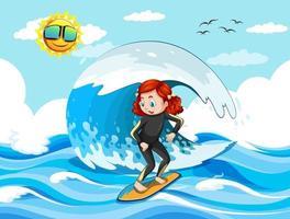 stor våg i havsscenen med flicka som står på en surfbräda