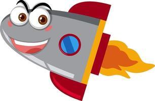Raketenschiffkarikatur mit glücklichem Gesicht auf weißem Hintergrund