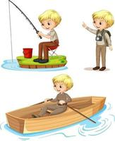 Zeichentrickfigur eines Jungen in Camping-Outfits, die verschiedene Aktivitäten ausführen