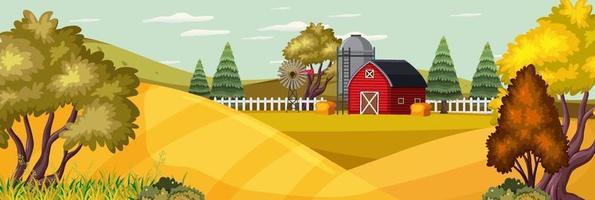 gårdlandskap med åker och röd ladugård under höstsäsongen vektor