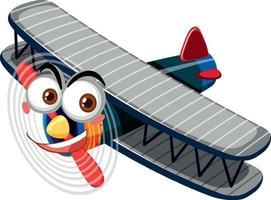 vintage flygplan med ansiktsuttryck seriefigur på vit bakgrund