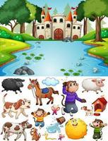 Schloss in der Waldszene mit isolierten Zeichentrickfiguren und Objekten vektor