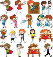 uppsättning av olika doodle barn seriefigurer isolerade