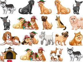 verschiedene lustige Hunde im Karikaturstil lokalisiert auf weißem Hintergrund vektor