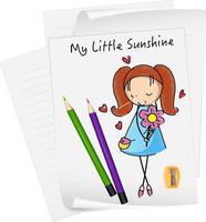 Skizze kleine Kinder Zeichentrickfigur auf Papier isoliert