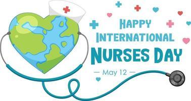 glad internationell sjuksköterskedagsstilsort med jorden i hjärtform