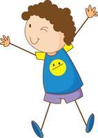 söt flicka seriefigur i handritad doodle stil isolerad