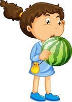 glückliche Mädchenkarikaturfigur, die eine Wassermelone hält