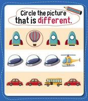 Kreisen Sie das Bild ein, das für Kinder eine andere Aktivität darstellt vektor